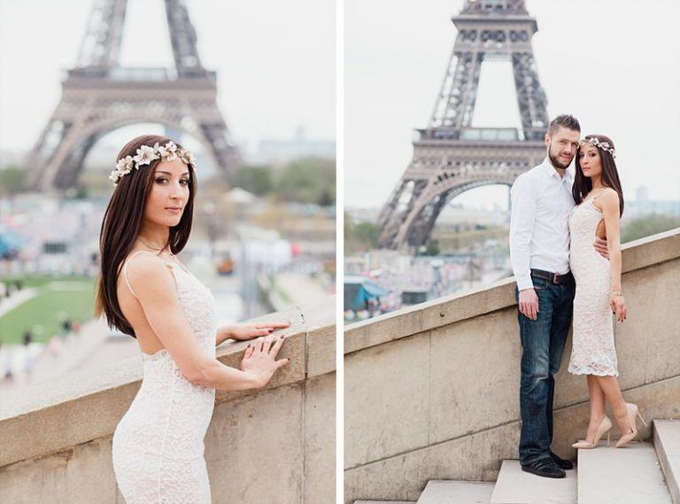 les mariés très amoureux au Trocadéro