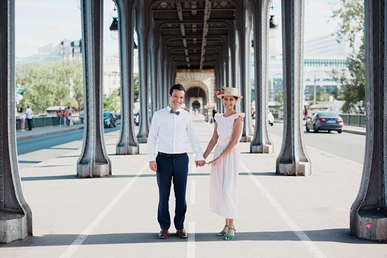 le pont bir hakeim avec les mariés