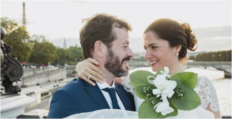happy married couple in paris