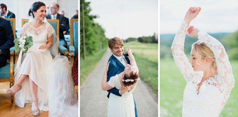 selection de photos avec des mariés pleins de joie