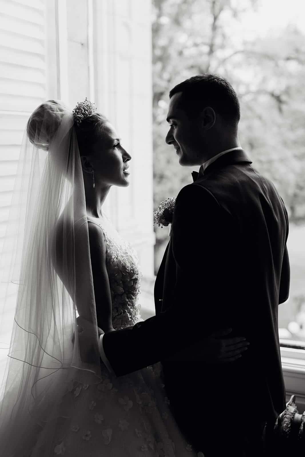 Photo en noir et blanc mariage